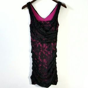 Express Fuschia & Black Lace Stretchy Ruched Dress